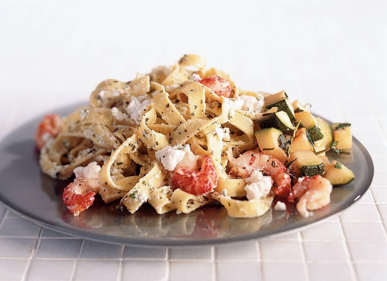 Pasta met ricotta en rivierkreeftjes