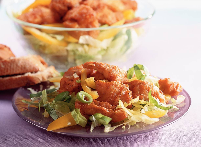 Lauwwarme salade met kibbeling