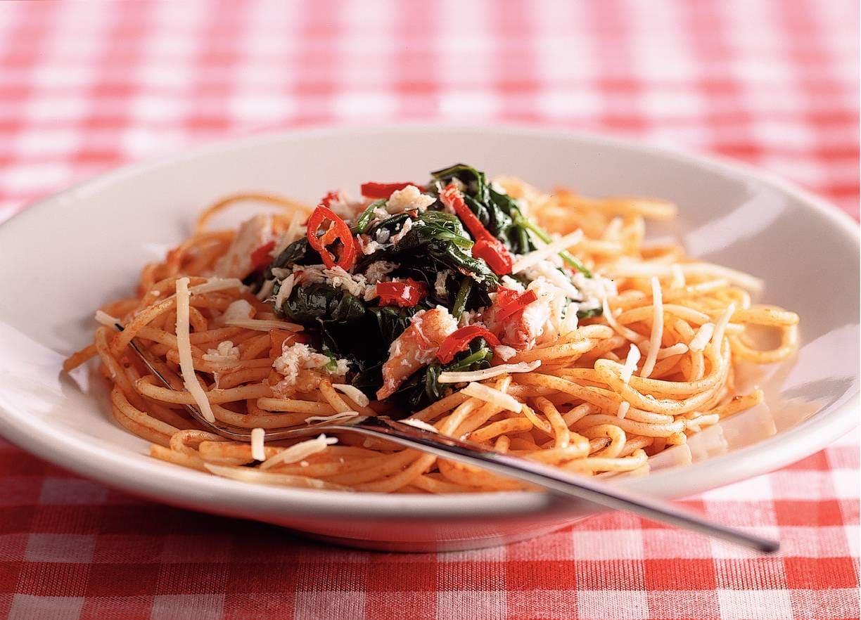 Tomatenspaghetti met krab