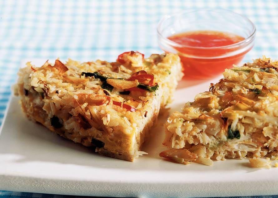 Pittige rijsttaart met krab
