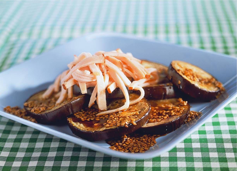 Gegrilde aubergine met kipfilet