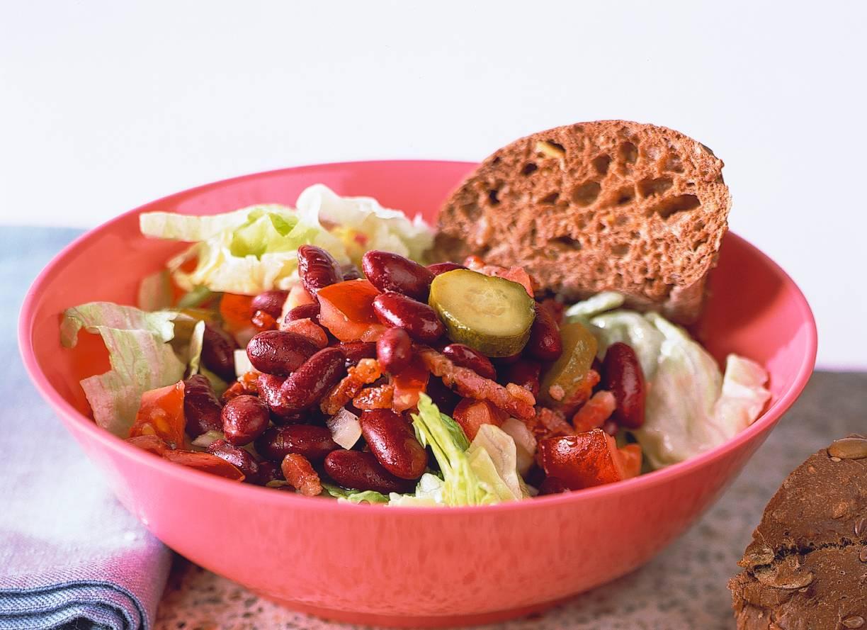 Lauwwarme salade met kidneybonen