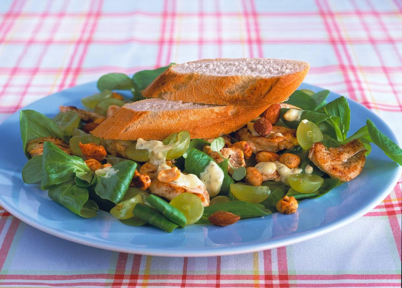 Salade met kip en druiven