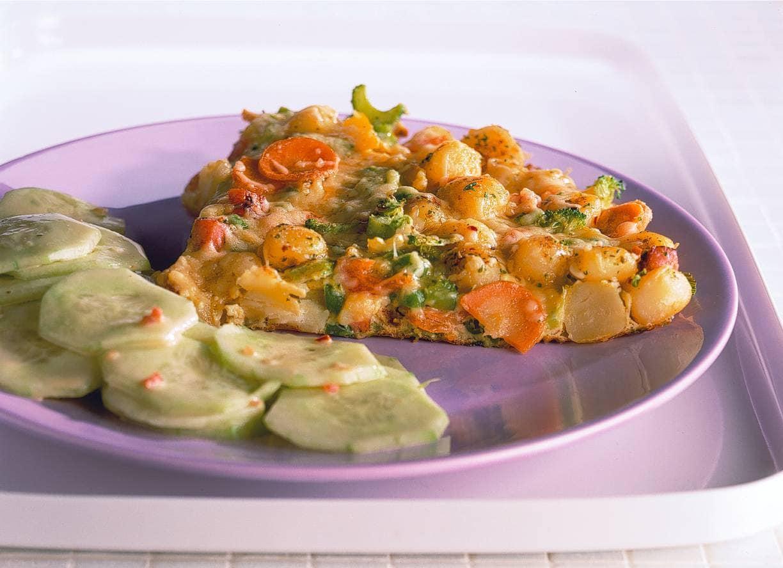 Stevige omelet met minikrieltjes