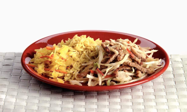 Wittekool met babi ketjap en Indische rijst