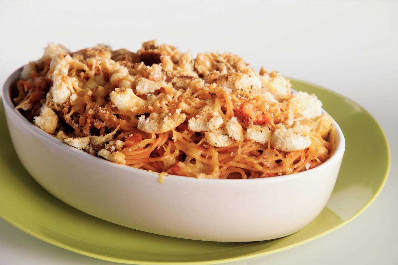Gegratineerde spaghetti