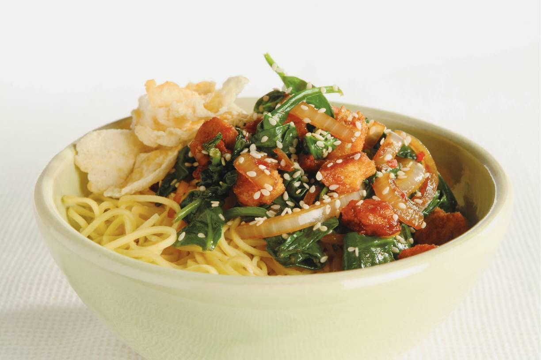 Chinese spinazie uit de wok