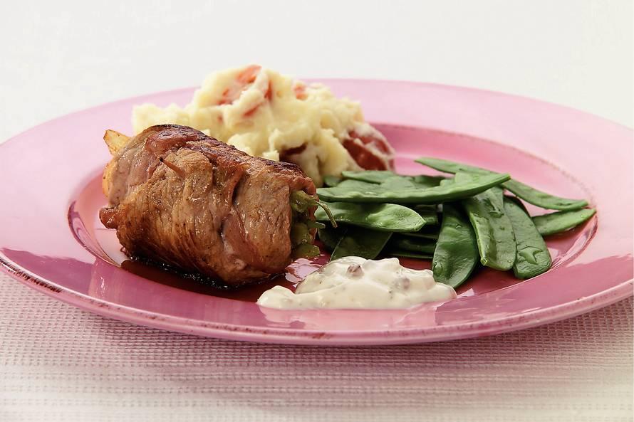 Gevuld kalfsvlees met pepersaus
