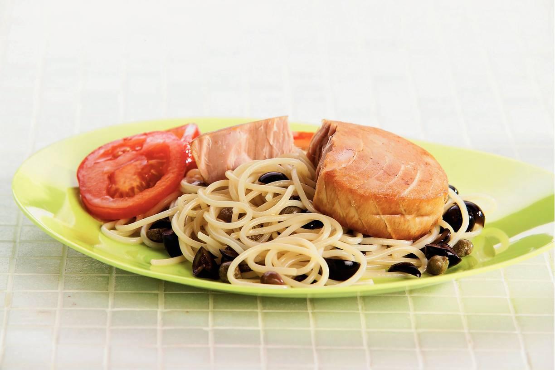 Spaghetti met tonijnsteak