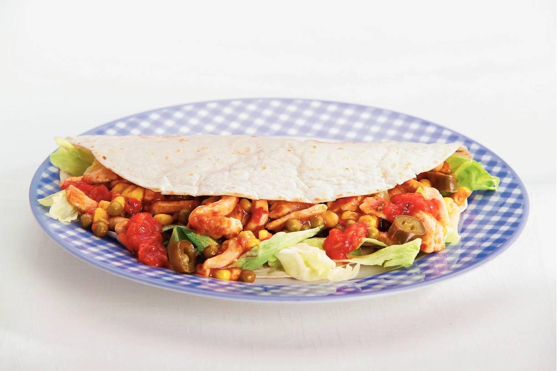 Pittige tortilla's met kalkoen