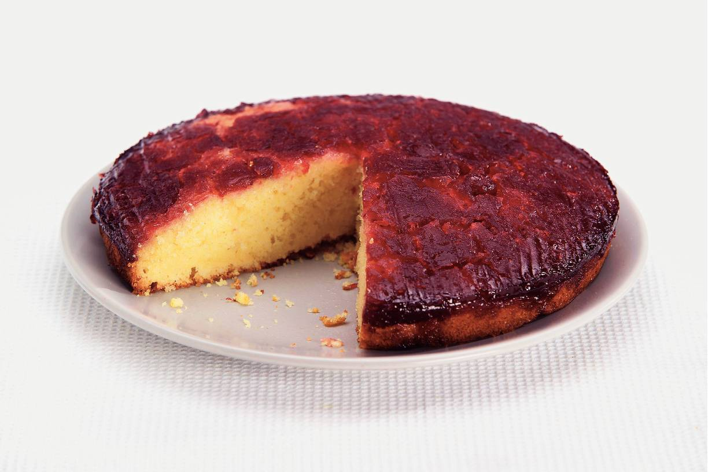 Onderstebovencake met cranberry's