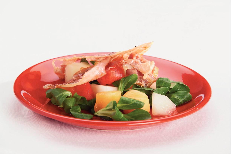 Meloensalade met krokante ham