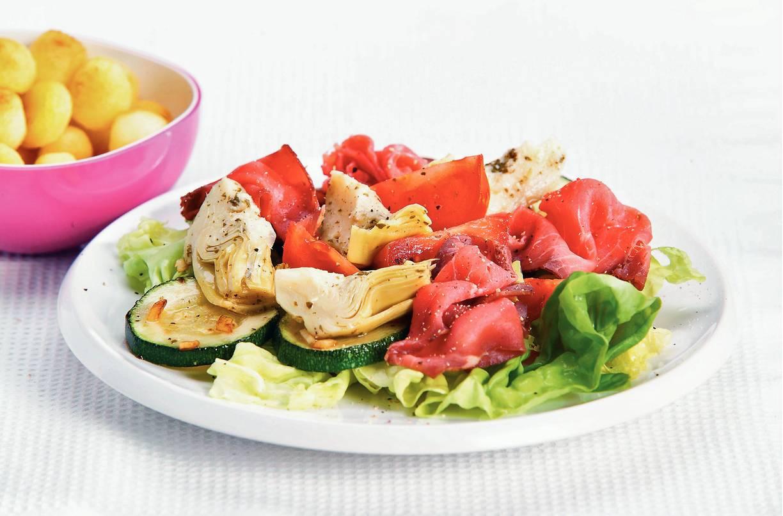 Salade met rosbief en artisjokharten