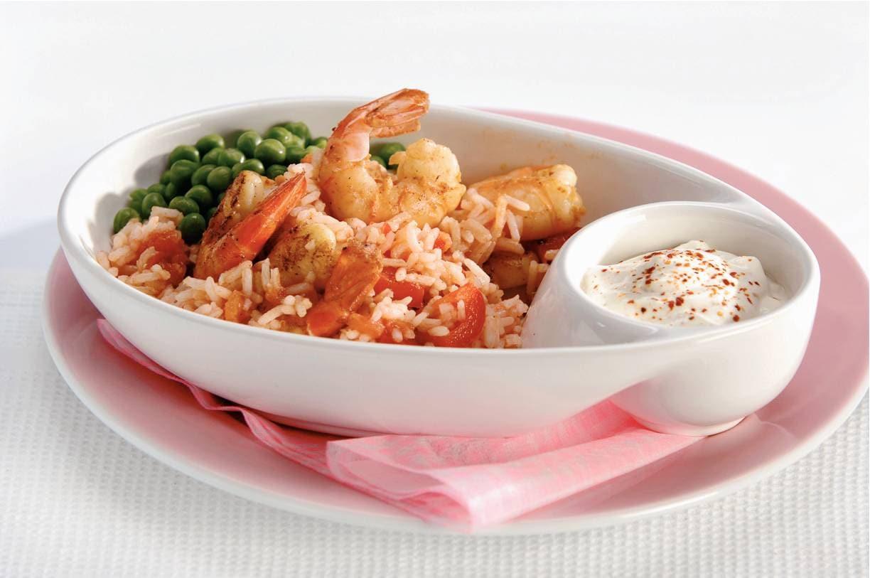 Rijstschotel met garnalen
