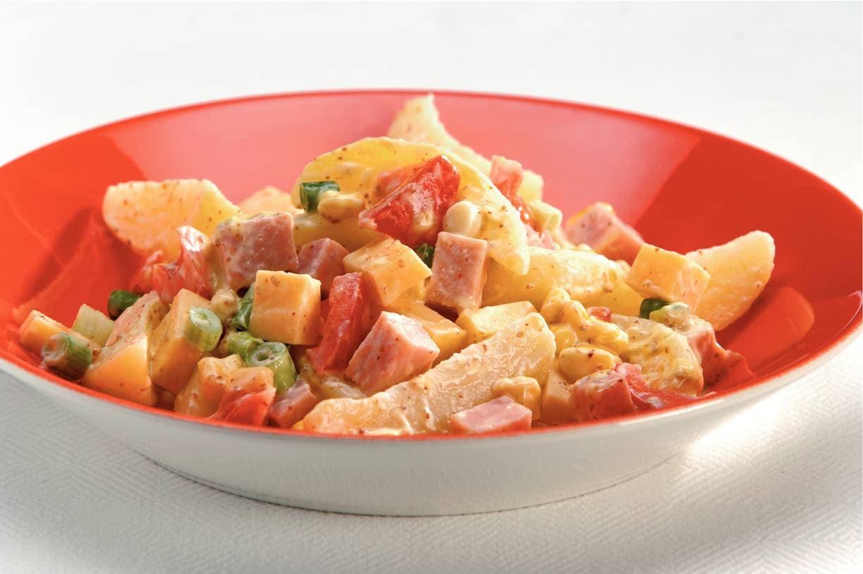Aardappelsalade met ham-mosterddressing