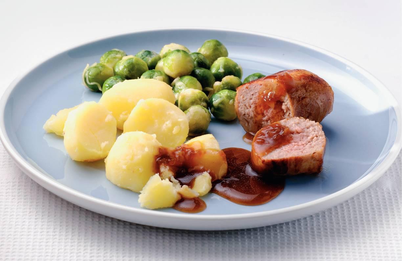 Slavinken met aardappels en jus