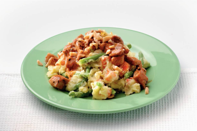 Pikante stamppot met vlees en groente