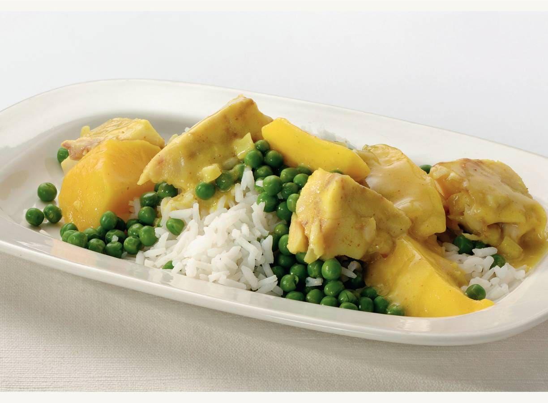 Kerrie-visschotel met mango