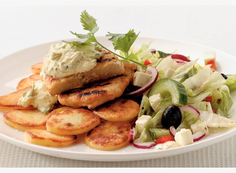 Vegetarische filet met Griekse saus