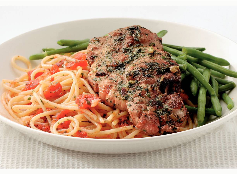 Italiaanse karbonades met spaghettini