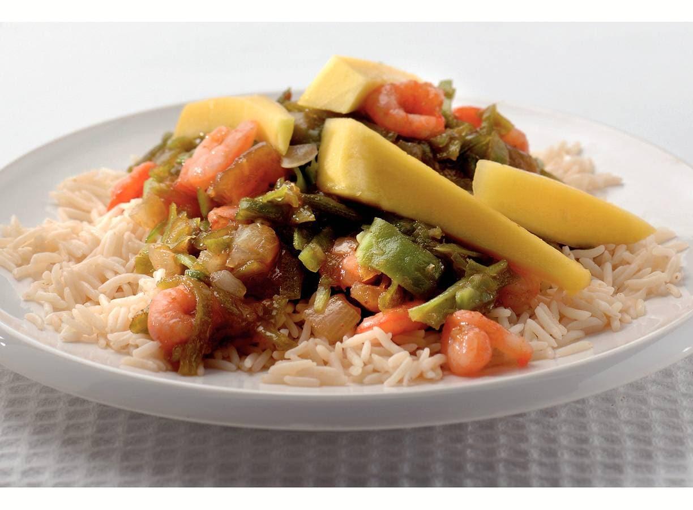 Indiase rijst met mango en garnalen