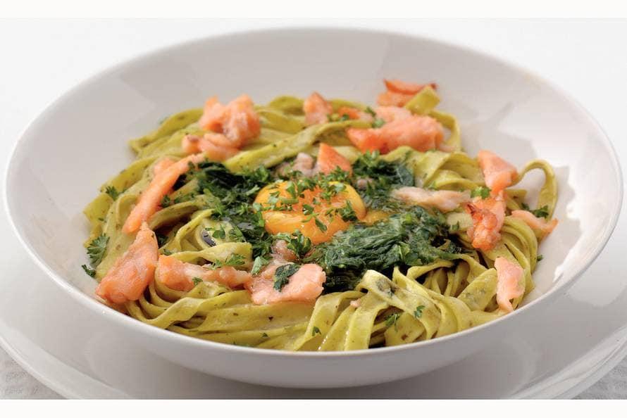 zalm tagliatelle spinazie