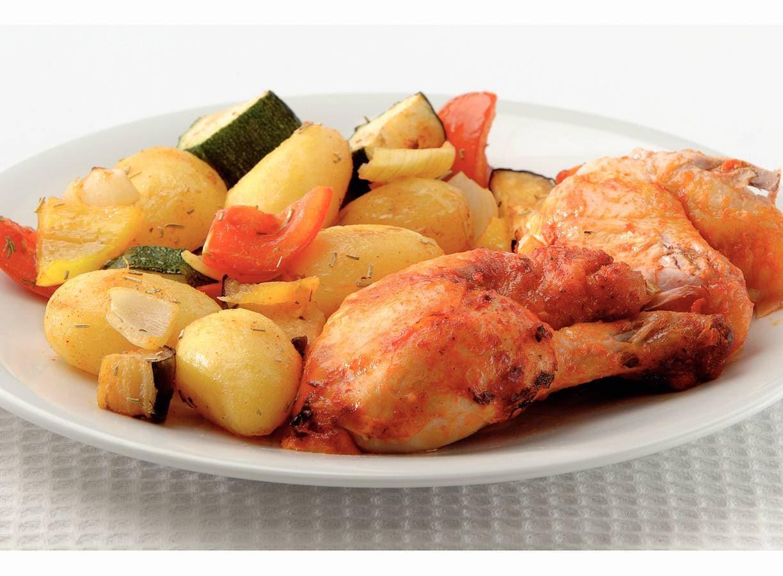 Gebraden kip met gekruide ovengroenten
