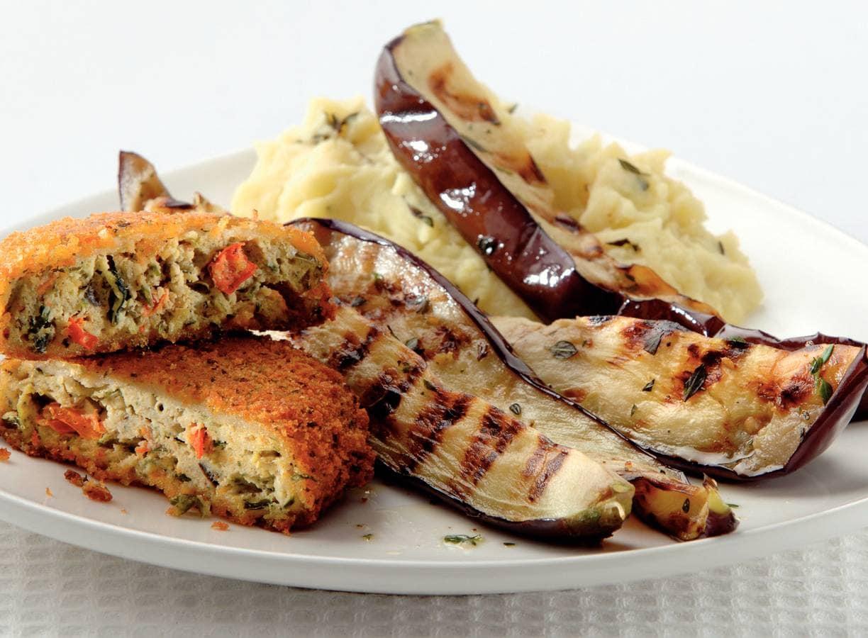 Griekse rondo's met gegrilde aubergine