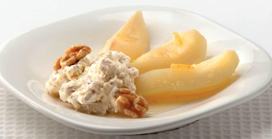 Warme peren met walnotencrème