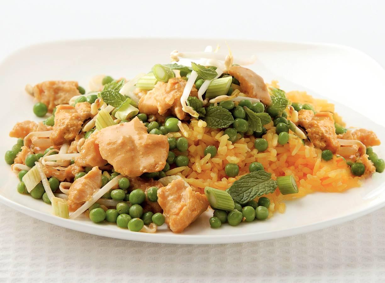 Tilapia met doperwtjes en rijst