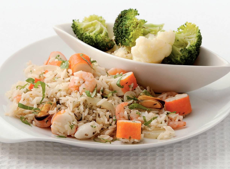 Rijstschotel met zeevruchten