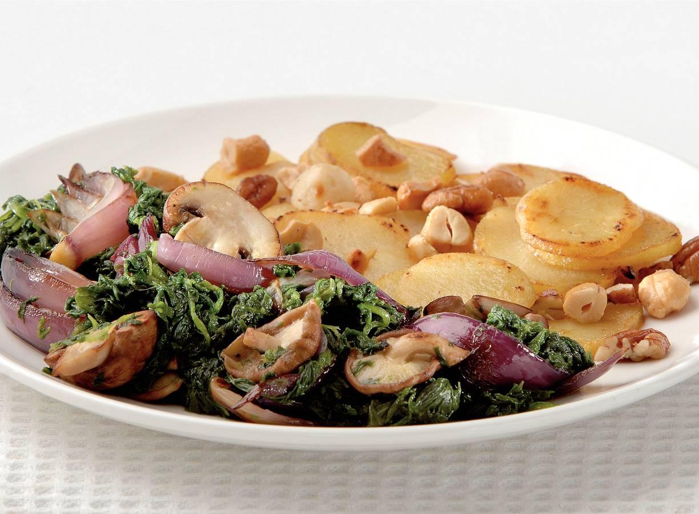 Spinazie, paddenstoelen en notenaardappelen