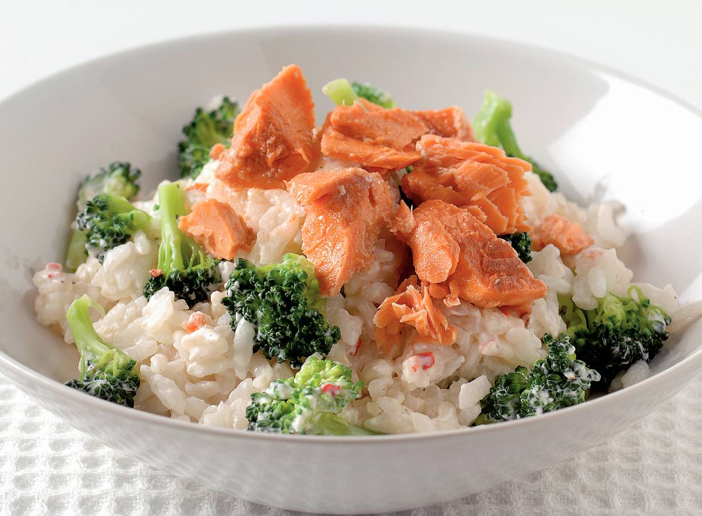 Romige risotto met broccoli en zalm
