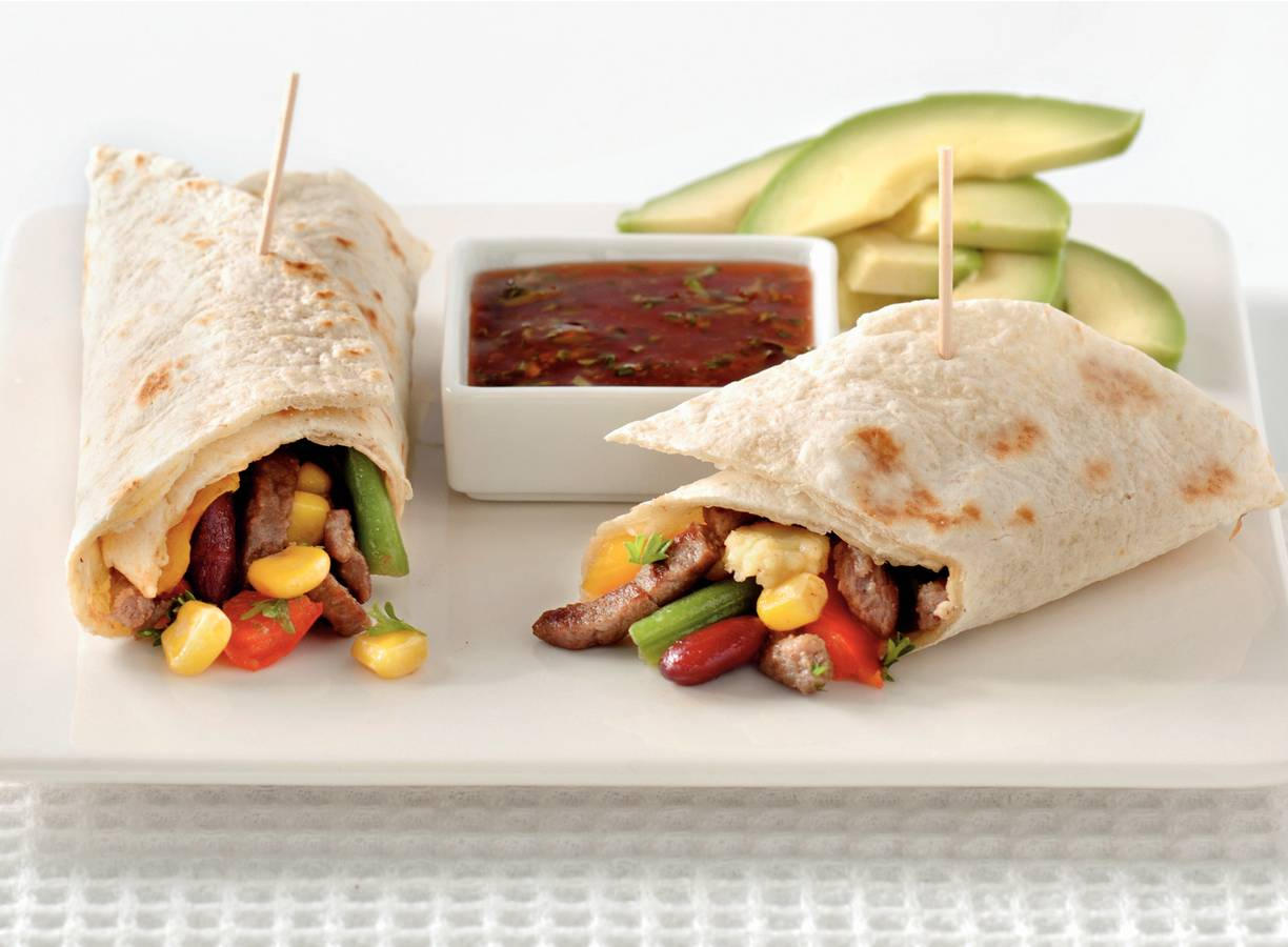 Wraps met chili-peterseliedip