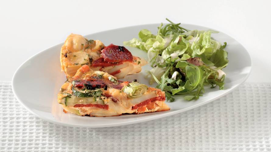 Aardappel-groentetortilla met chorizo
