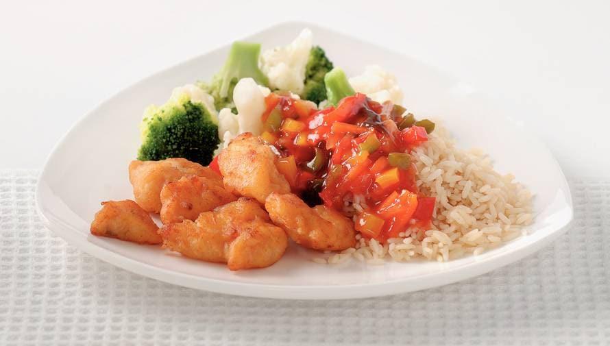 Kibbeling in zoetzure saus met rijst