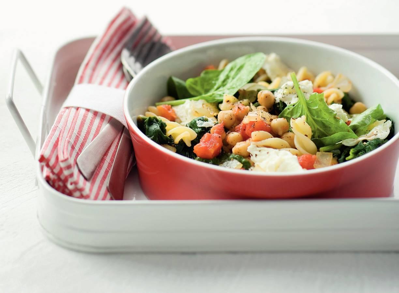 Fusilli met kikkererwten en spinazie