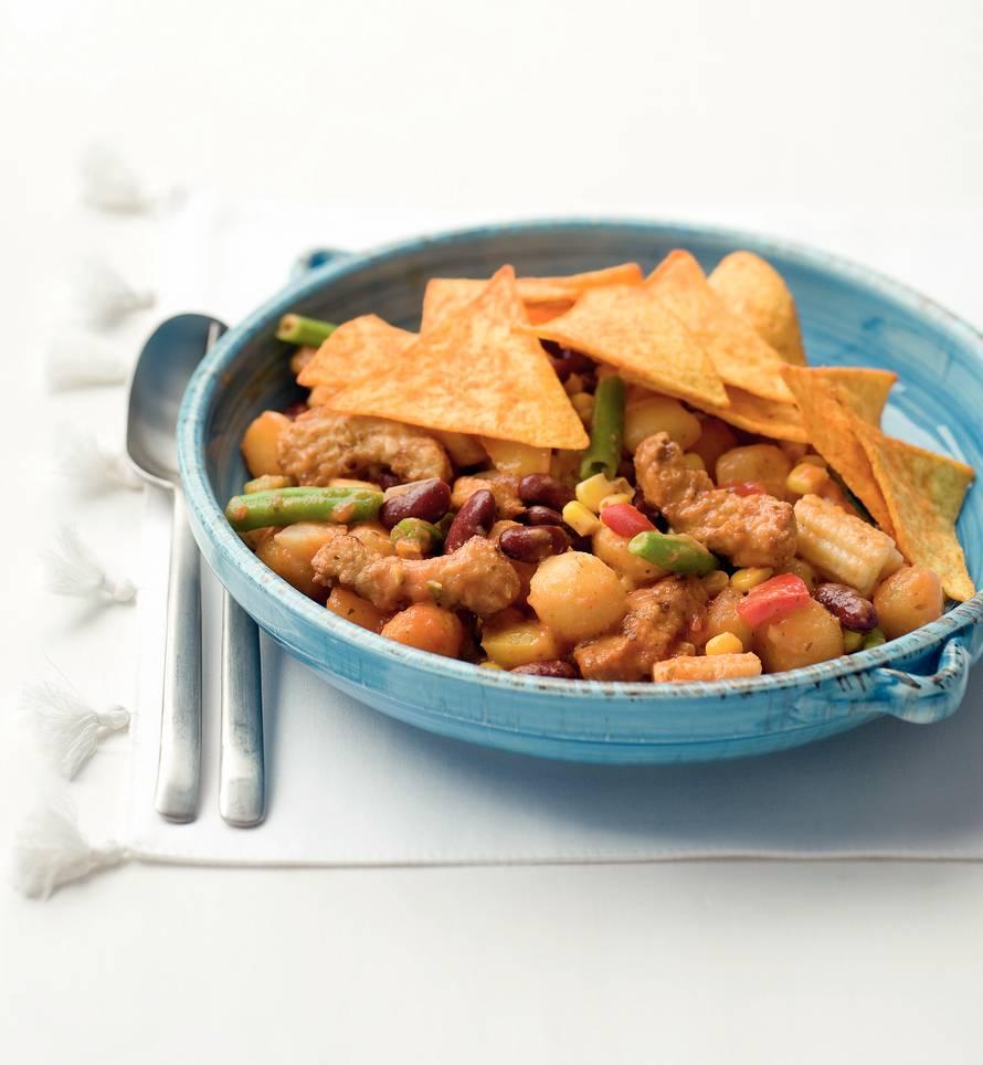Mexicaanse ovenschotel met gegrilde vegastukjes en mini krieltjes