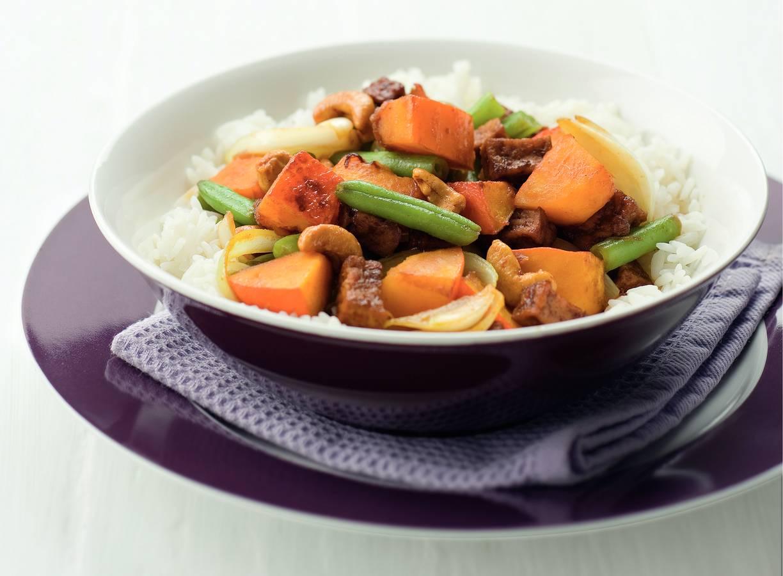 Pompoen met tofu en cashewnoten