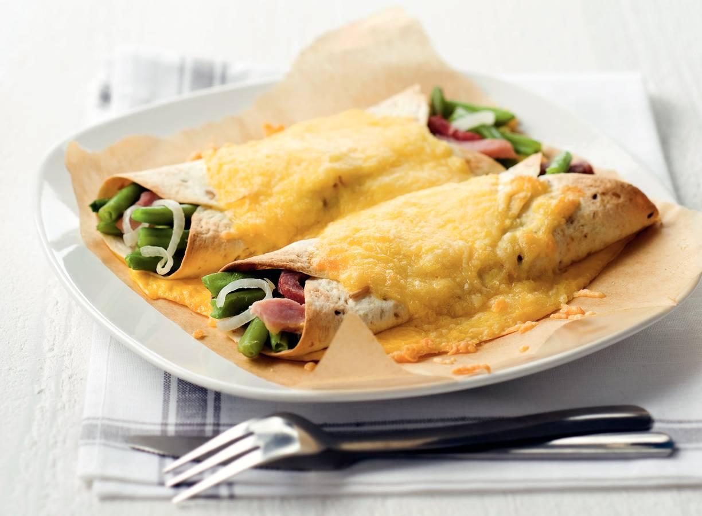 Wraps met sperziebonen, ham en kaas