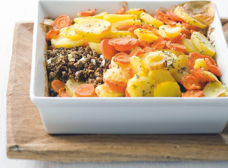 Aardappel-wortelschotel met Quorngehakt