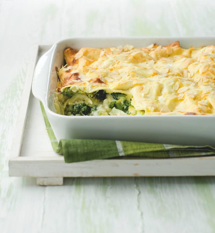 Lasagne met broccoli en amandelen