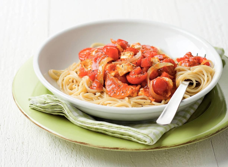 Spaghetti verdure met geitenkaas