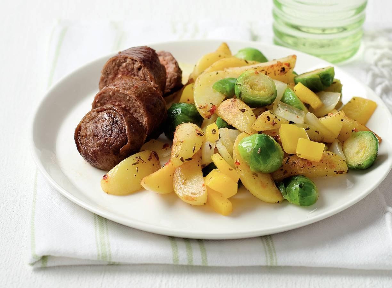 Toscaanse aardappelpartjes met spruitjes en vinken