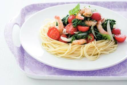 spaghetti garnalen spinazie