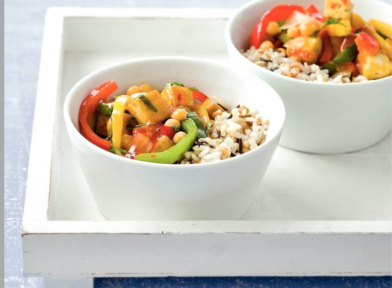 Meergranenrijst met vegetarische chilisaus