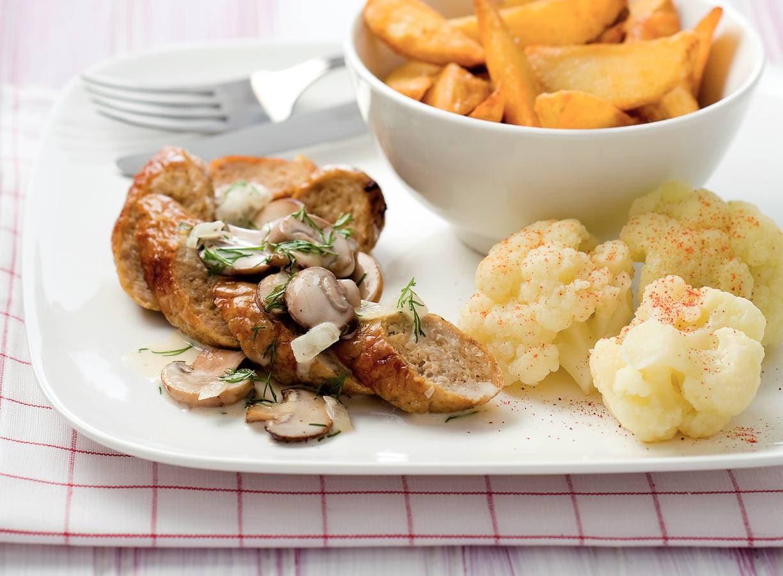 Braadworst met champignon-dillesaus