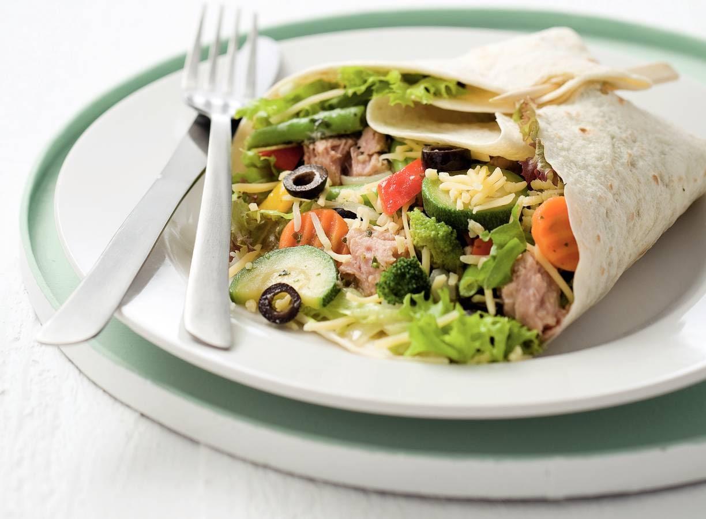 Tonijnburrito met Italiaanse groenten