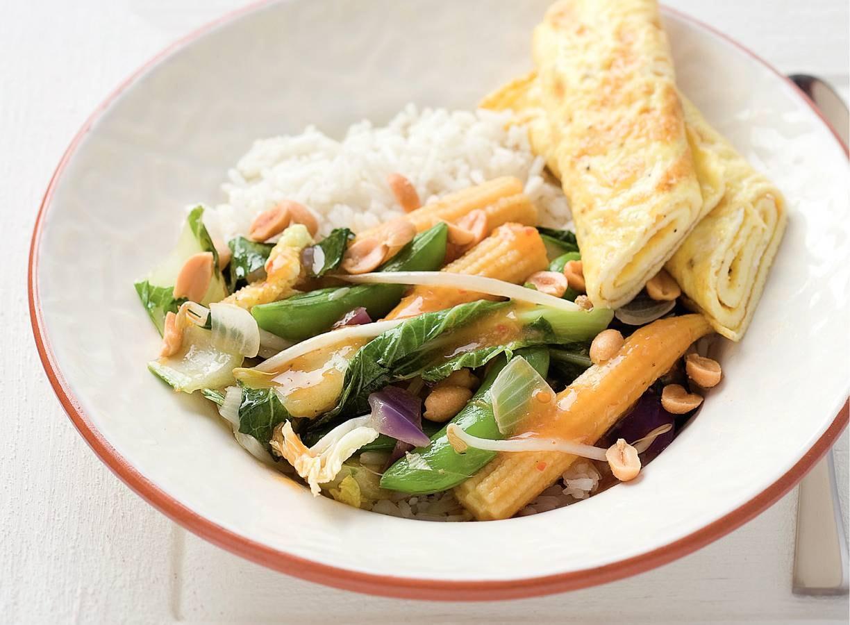 Indische groenten met omelet