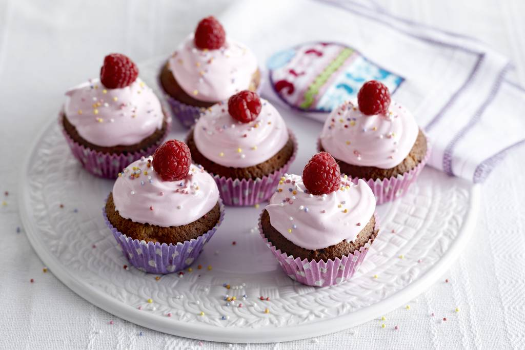 Cupcakes met frambozen